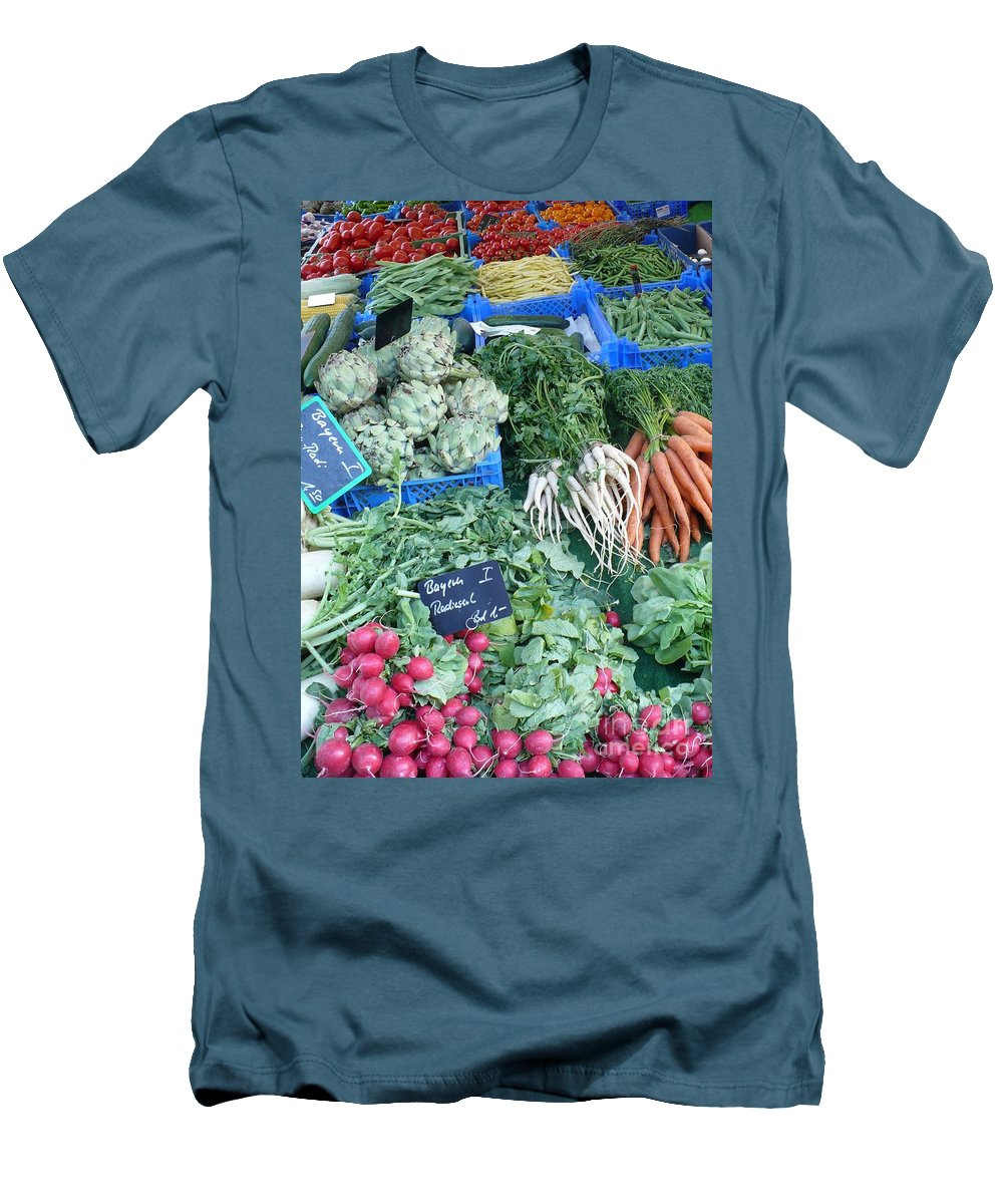 European Markets Men's T-Shirt (Athletic Fit) featuring the photograph Vegetables At German Market by Carol Groenen