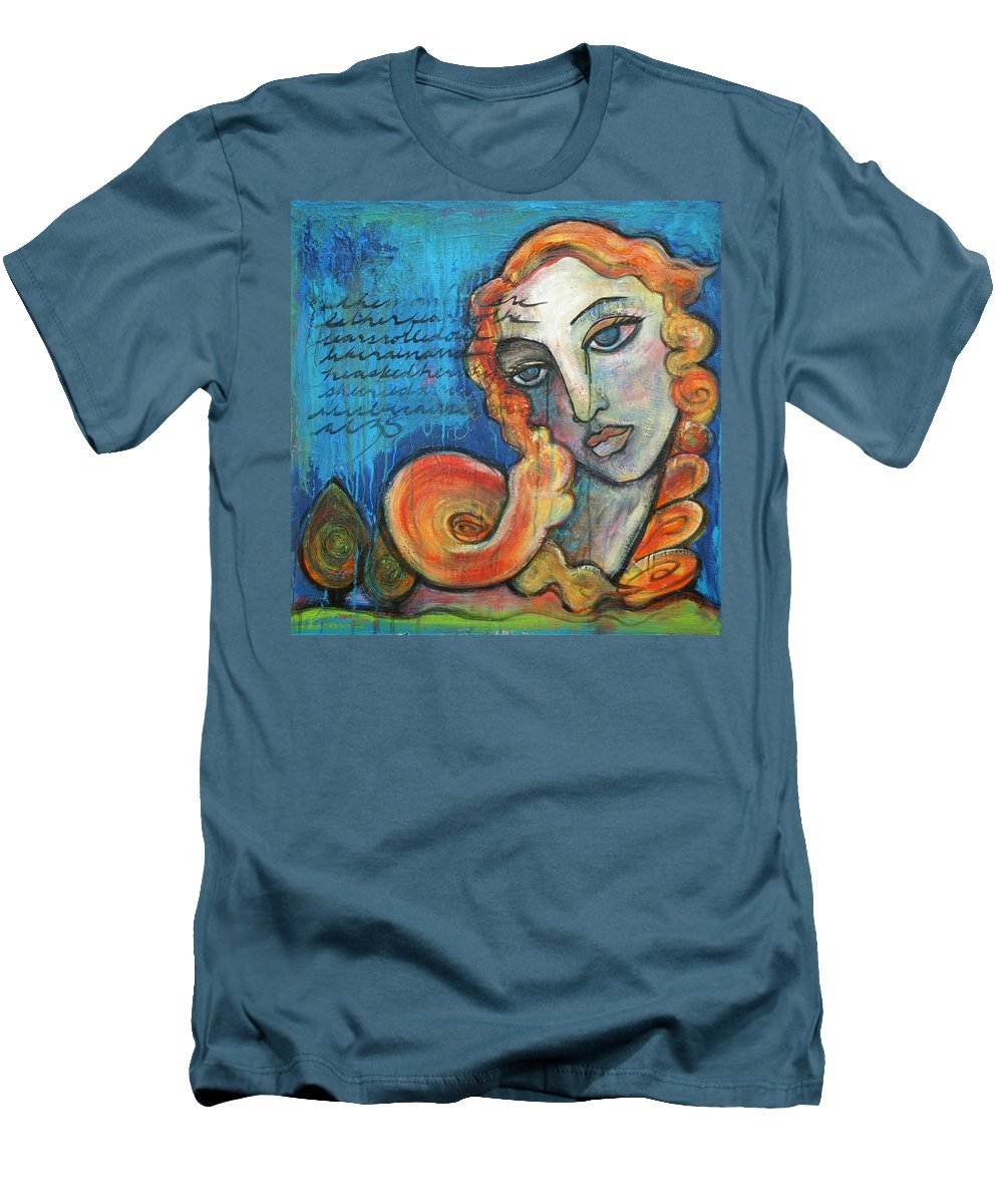 Venus Men's T-Shirt (Athletic Fit) featuring the painting Venus Lets Go by Laurie Maves ART