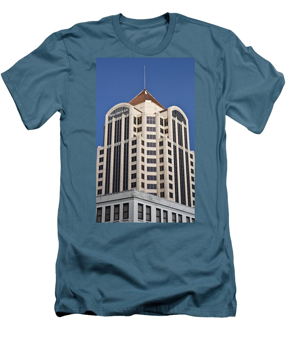 Roanoke Men's T-Shirt (Athletic Fit) featuring the photograph Wachovia Tower Roanoke Virginia by Teresa Mucha