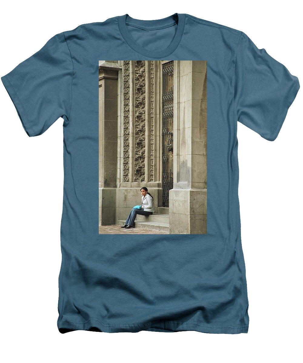 Church Men's T-Shirt (Athletic Fit) featuring the photograph Waiting For God by Kathy McClure