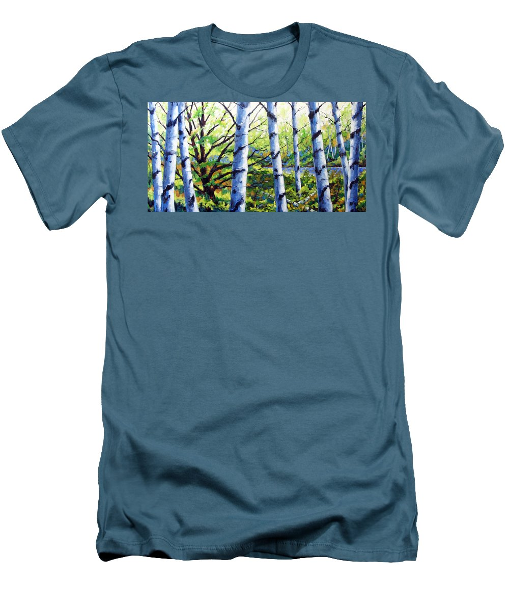 Lake Men's T-Shirt (Athletic Fit) featuring the painting Walk To The Lake by Richard T Pranke