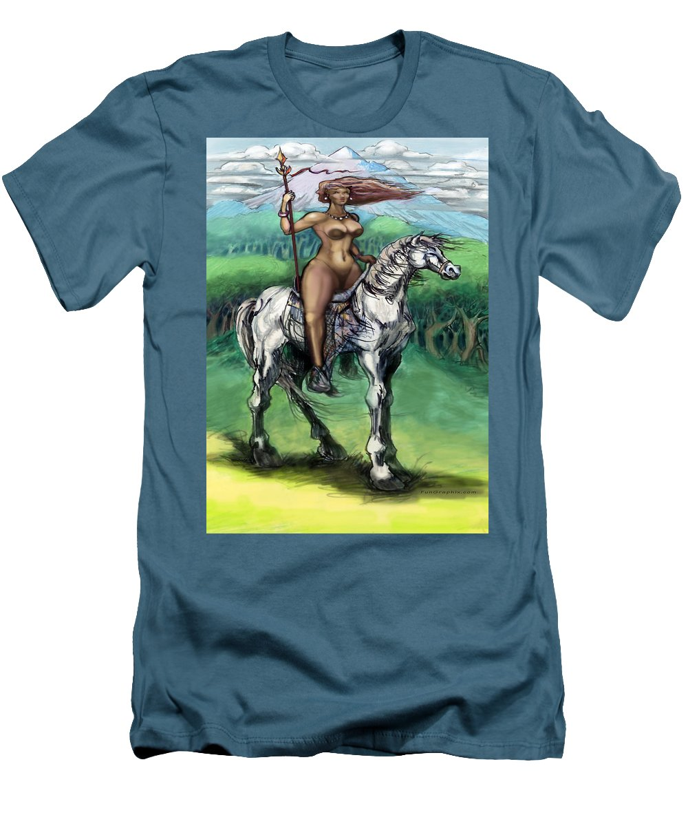Warrior Men's T-Shirt (Athletic Fit) featuring the painting Warrior Maiden by Kevin Middleton