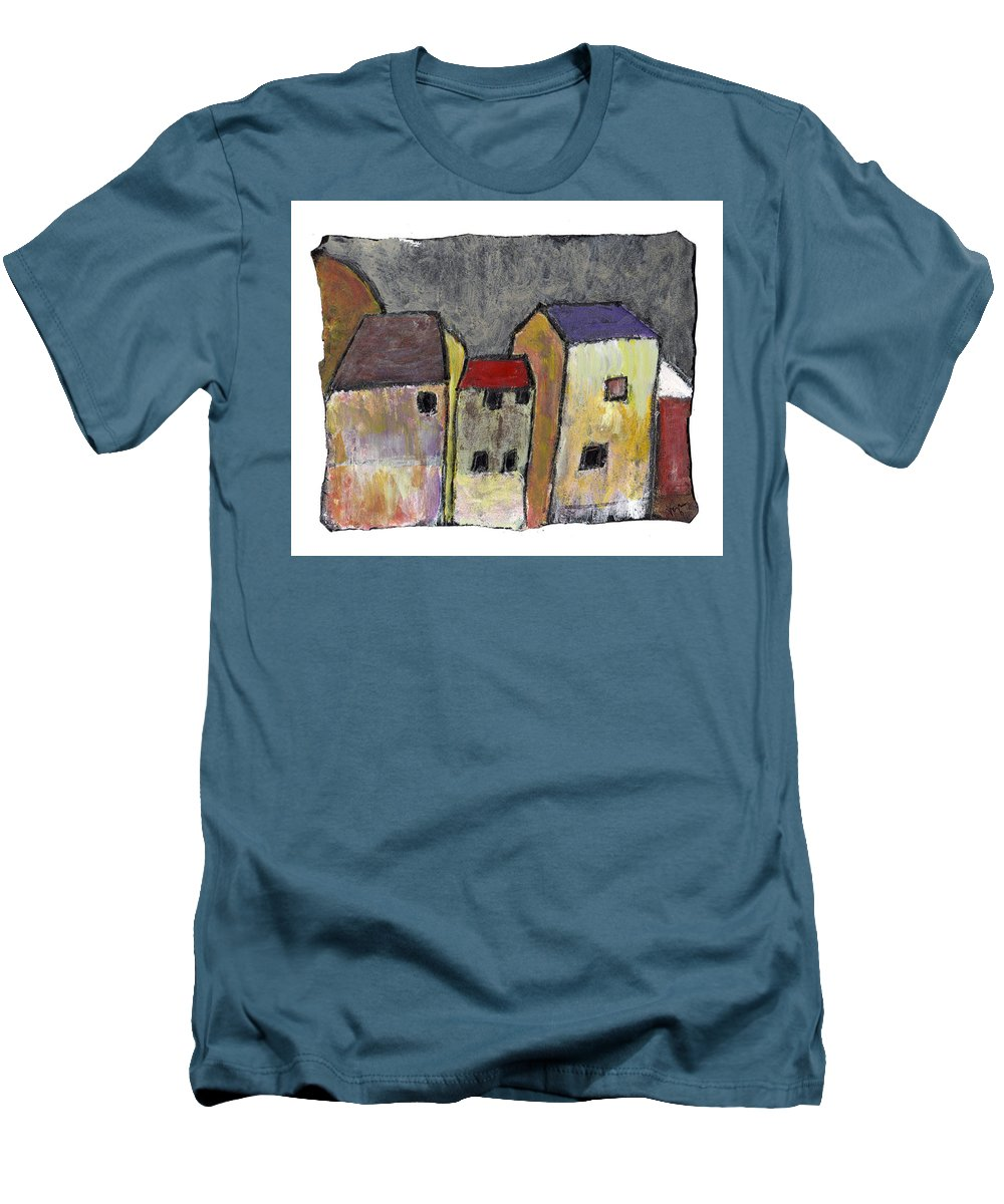 Buildings Men's T-Shirt (Athletic Fit) featuring the painting Where Once There Was by Wayne Potrafka