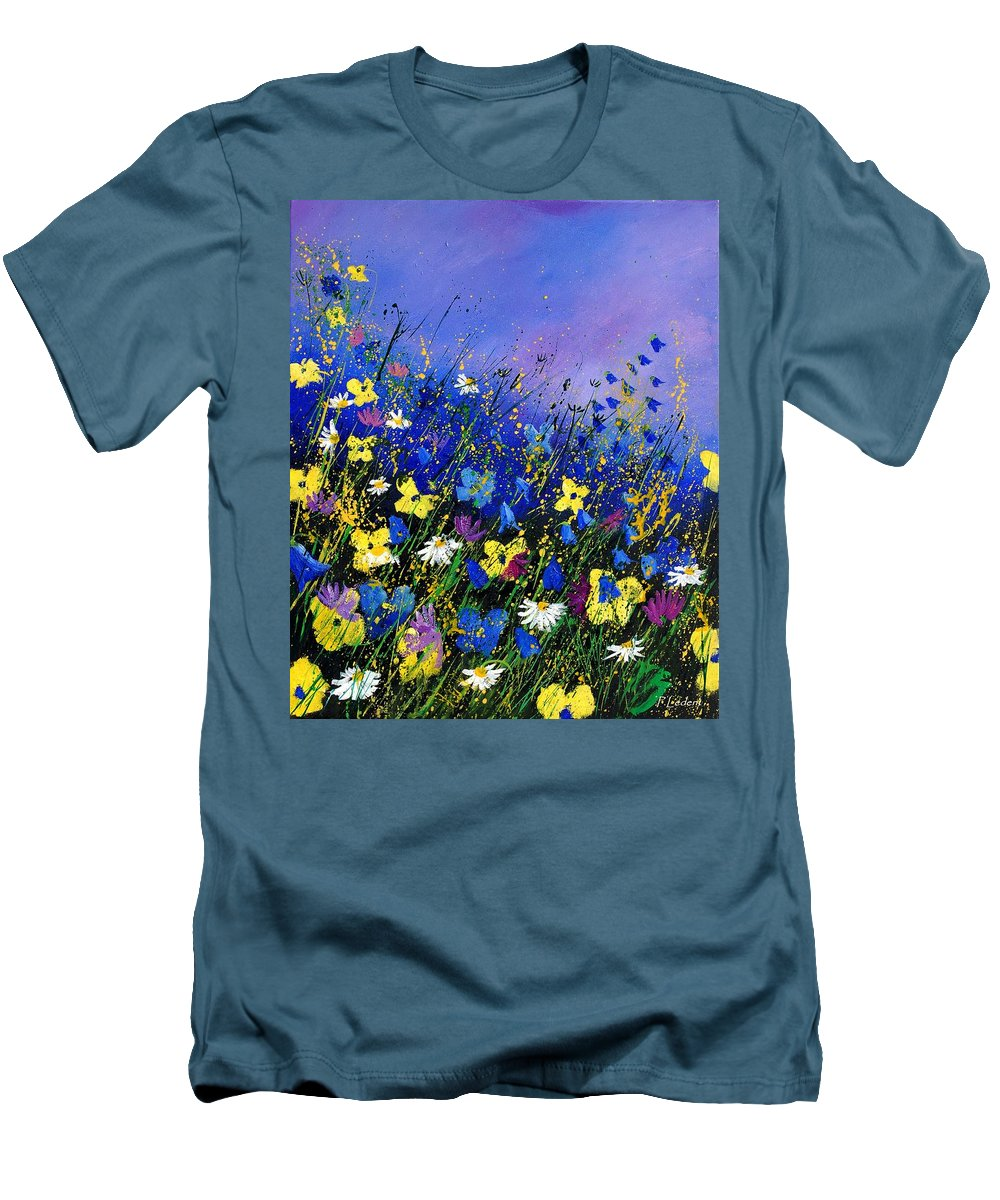 Flowers Men's T-Shirt (Athletic Fit) featuring the painting Wild Flowers 560908 by Pol Ledent