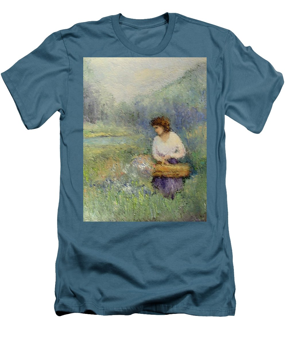 Woman Men's T-Shirt (Athletic Fit) featuring the painting Wildflowers by Gail Kirtz