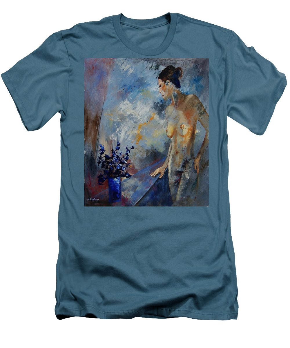 Girl Men's T-Shirt (Athletic Fit) featuring the painting Will He Be Coming by Pol Ledent