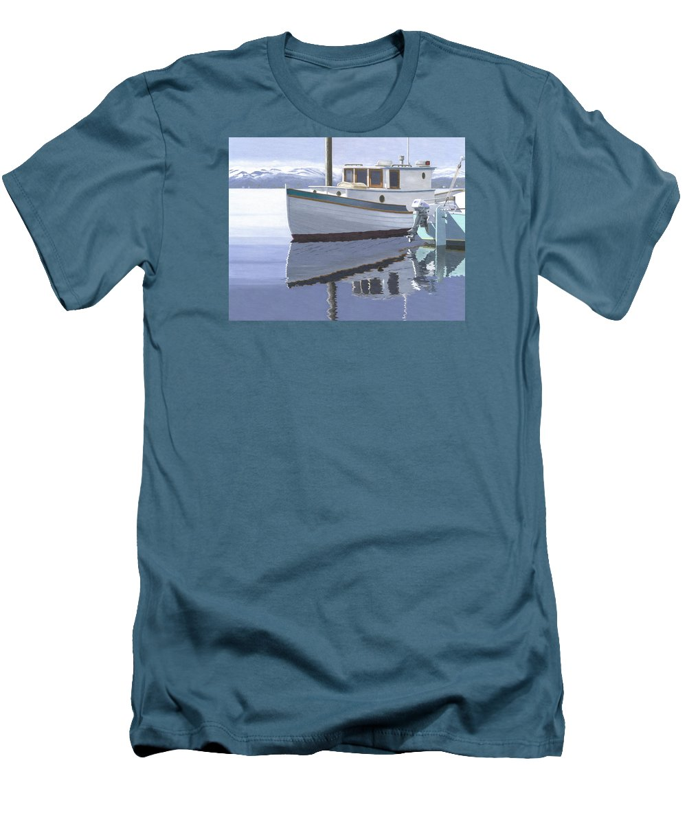 Marine Men's T-Shirt (Athletic Fit) featuring the painting Winter Moorage by Gary Giacomelli