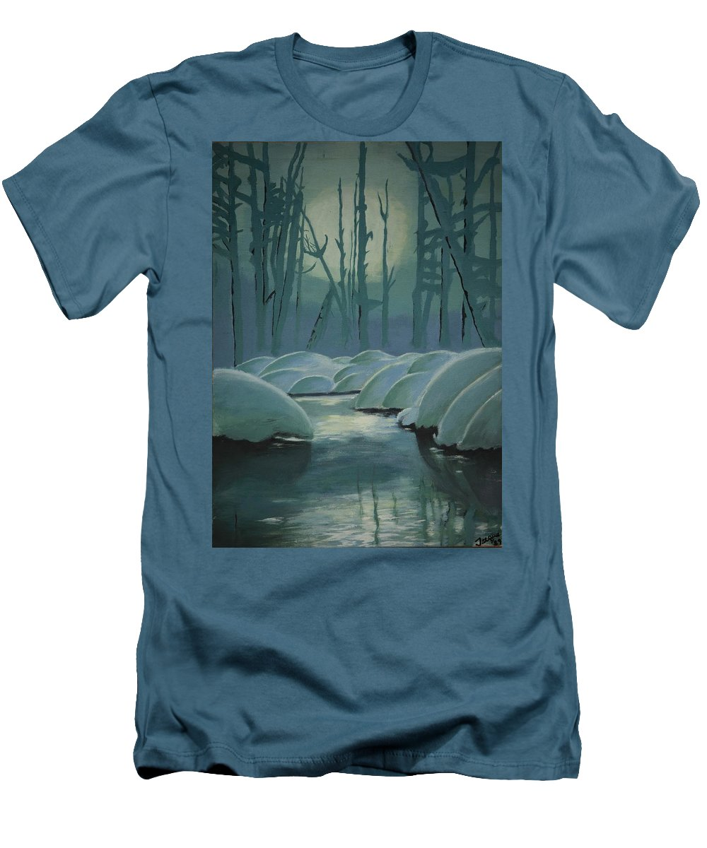 River Men's T-Shirt (Athletic Fit) featuring the painting Winter Quiet by Jacqueline Athmann
