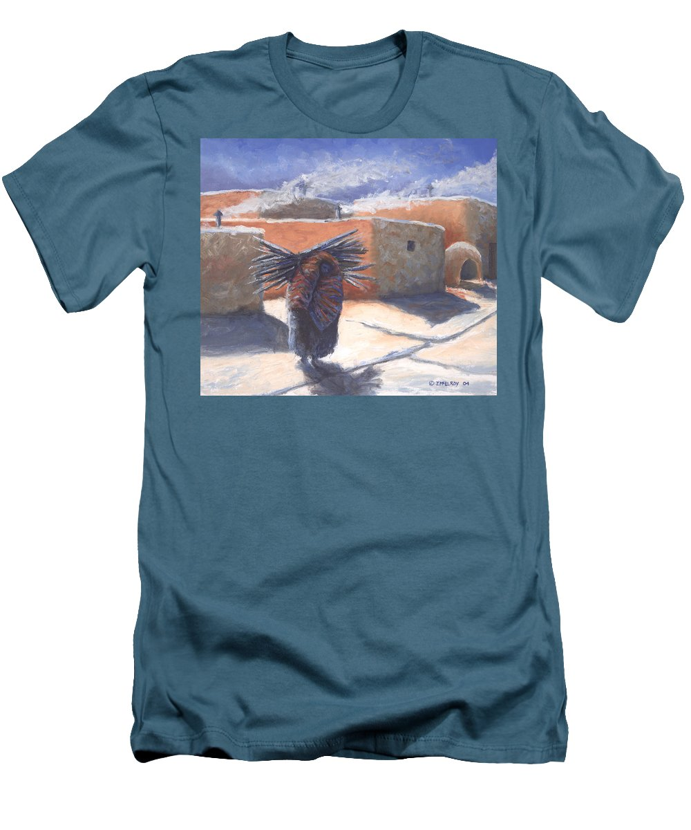 Adobe Men's T-Shirt (Athletic Fit) featuring the painting Winter's Work by Jerry McElroy