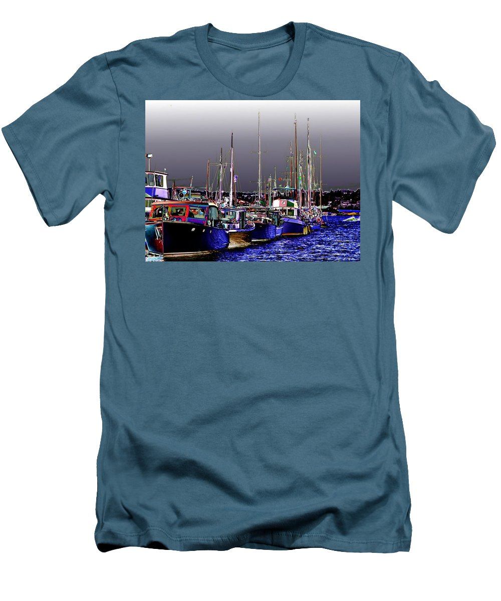Seattle Men's T-Shirt (Athletic Fit) featuring the digital art Wooden Boats 2 by Tim Allen