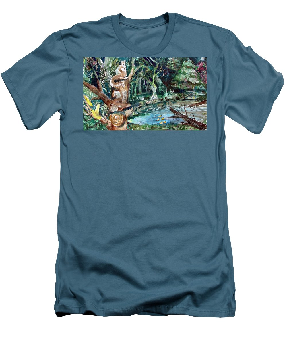 Squirrels Men's T-Shirt (Athletic Fit) featuring the painting Woodland Critters by Mindy Newman