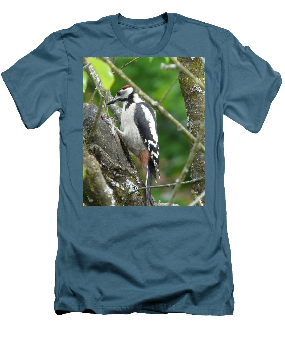Bird Men's T-Shirt (Athletic Fit) featuring the photograph Woodpecker by Valerie Ornstein