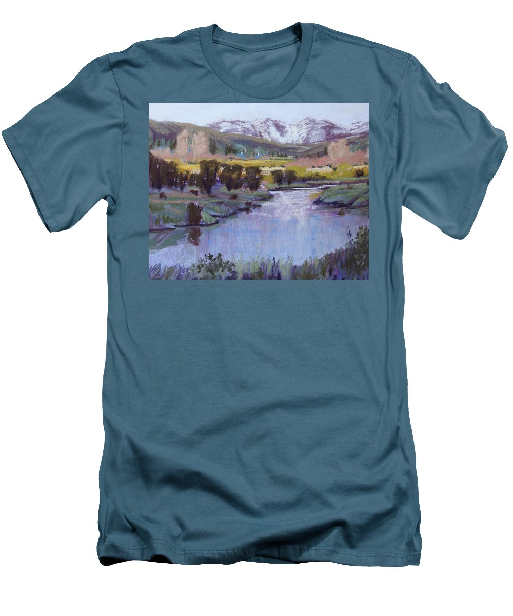 River Men's T-Shirt (Athletic Fit) featuring the pastel Wyoming River by Heather Coen