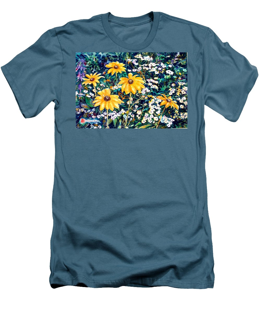 Daisies Men's T-Shirt (Athletic Fit) featuring the painting Yellow Daisies by Norma Boeckler