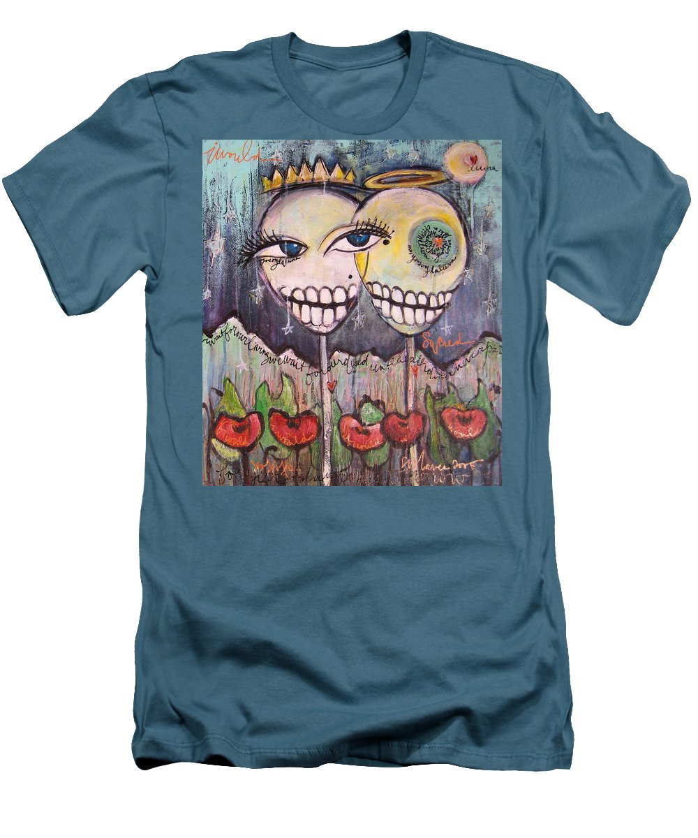 Skull Heads Men's T-Shirt (Athletic Fit) featuring the painting Yo Soy La Luna by Laurie Maves ART