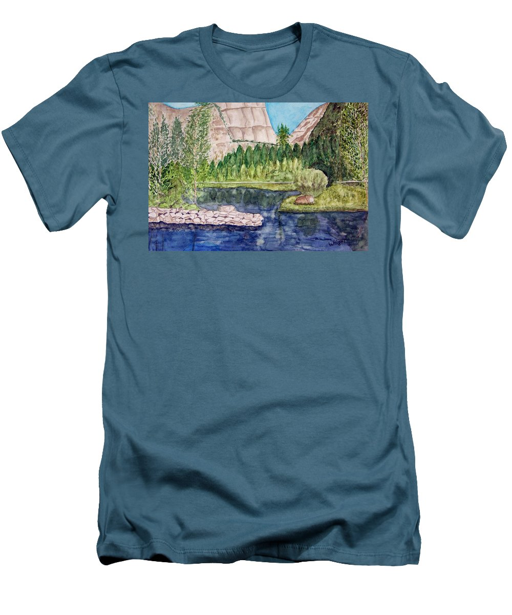 Yosemite National Park Men's T-Shirt (Athletic Fit) featuring the painting Yosemite by Larry Wright