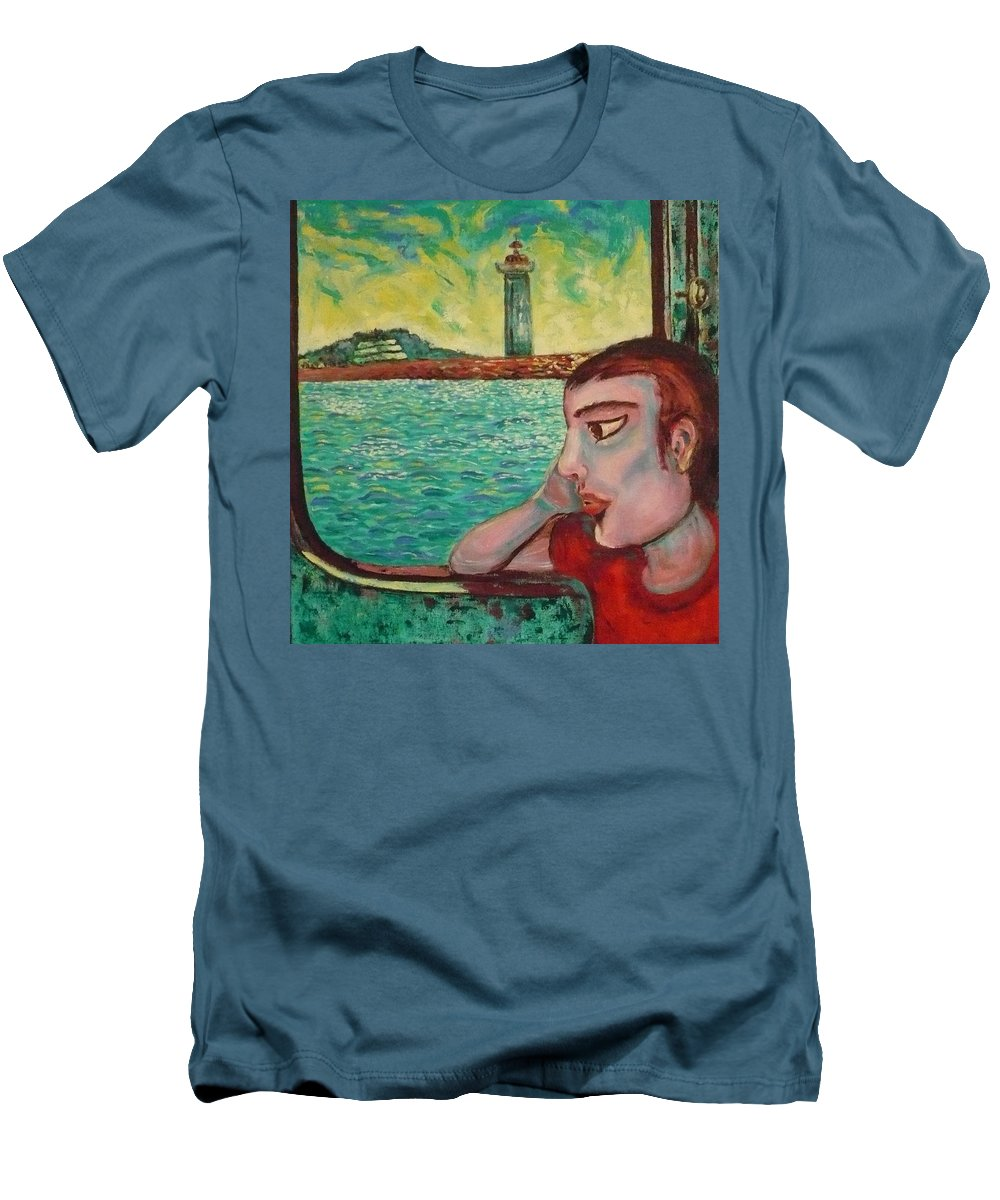 Window Men's T-Shirt (Athletic Fit) featuring the painting Young Man In A Window by Ericka Herazo