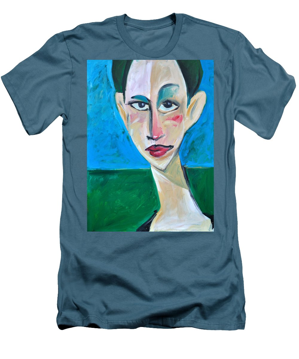 Woman Men's T-Shirt (Athletic Fit) featuring the painting Young Woman Green Field by Tim Nyberg