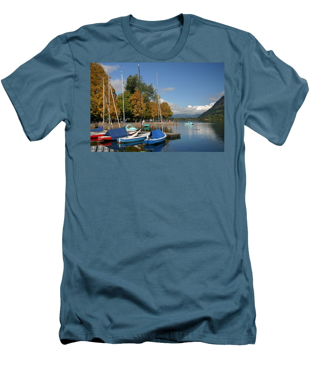 Sail Boats Men's T-Shirt (Athletic Fit) featuring the photograph Zell Am See The Elements In Austria by Minaz Jantz