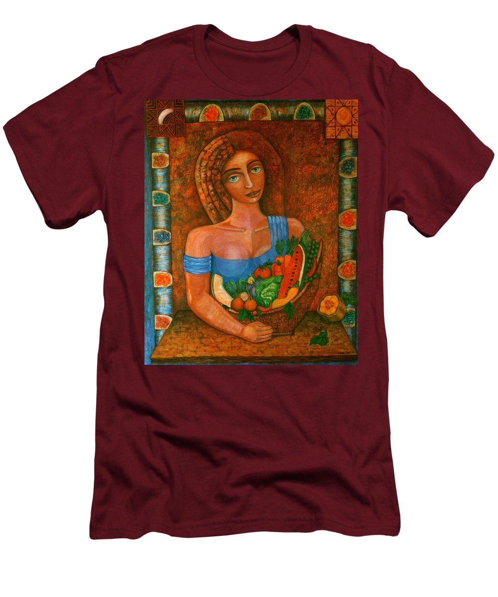 Acrylic Men's T-Shirt (Athletic Fit) featuring the painting Flora - Goddess Of The Seeds by Madalena Lobao-Tello