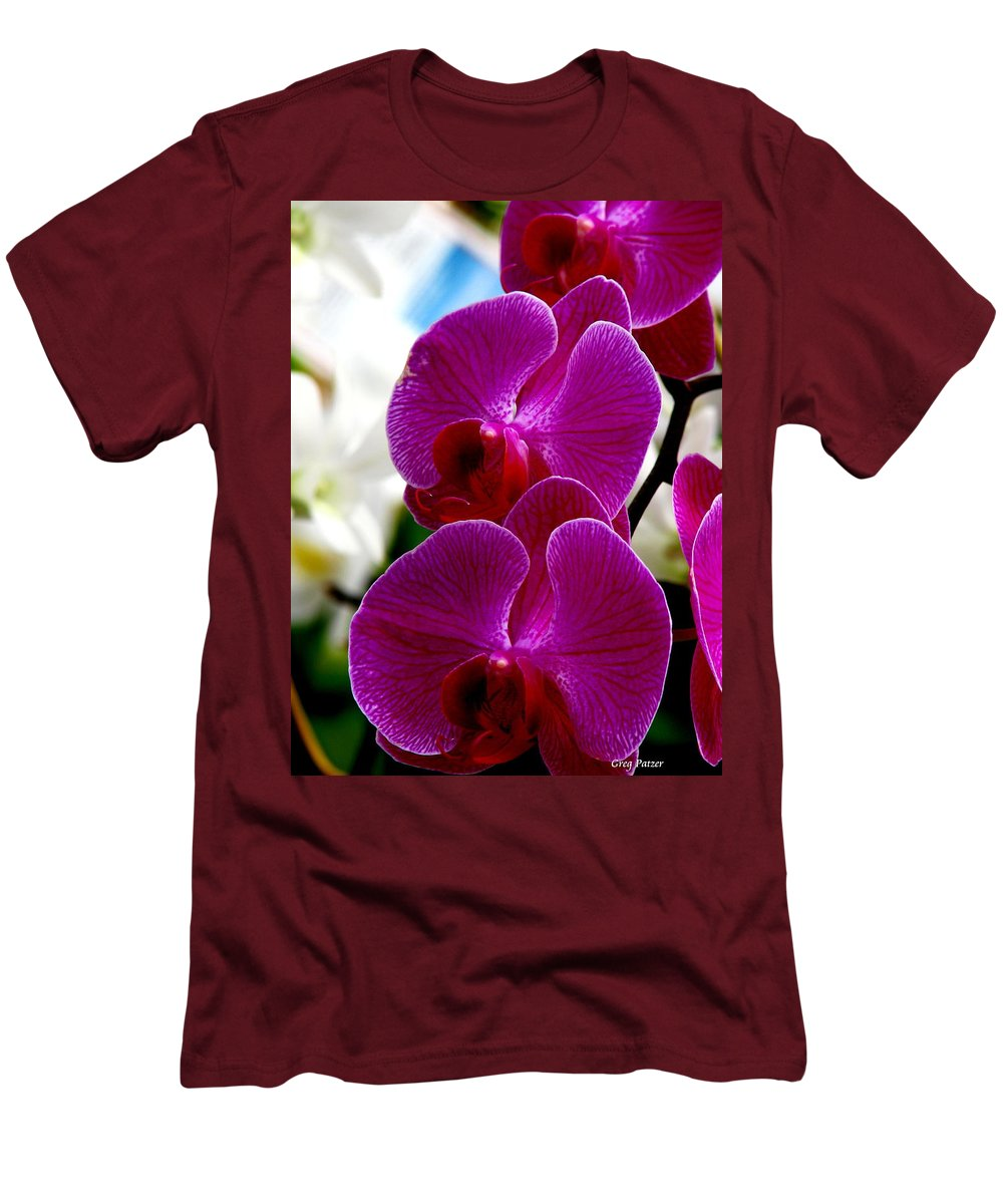Art For The Wall...patzer Photography Men's T-Shirt (Athletic Fit) featuring the photograph Orchid by Greg Patzer