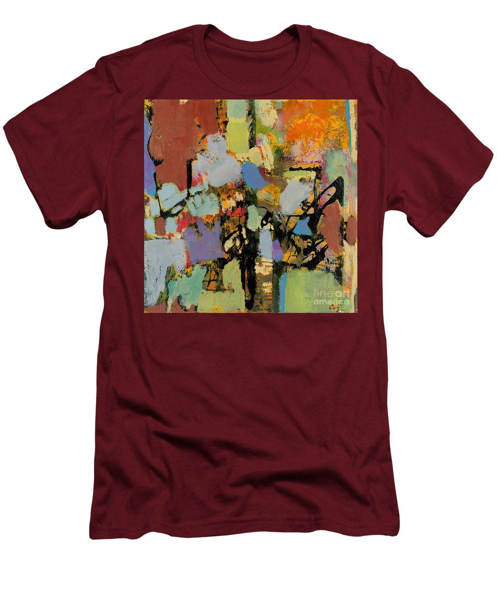 Landscape Men's T-Shirt (Athletic Fit) featuring the painting Quick Racing by Allan P Friedlander