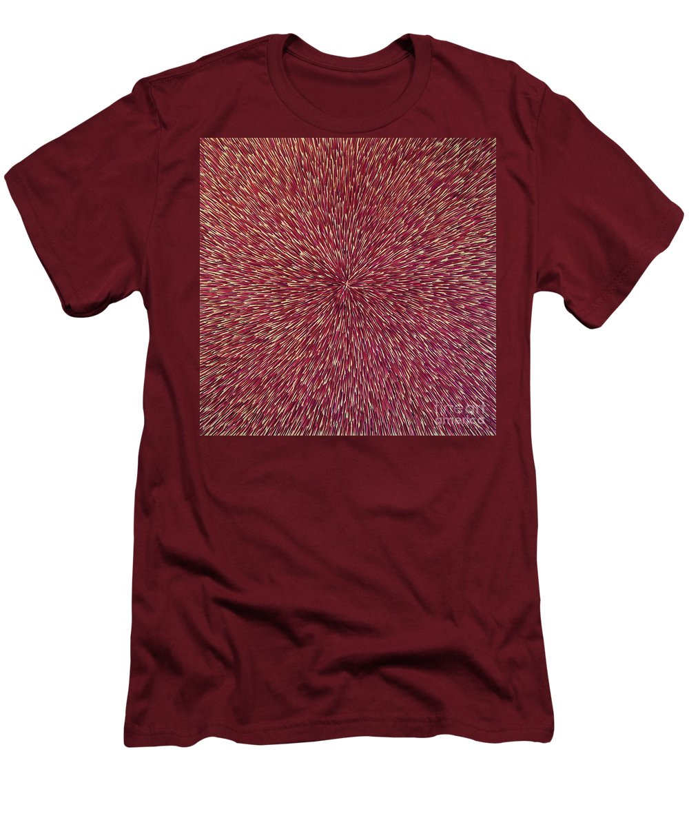 Abstract Men's T-Shirt (Athletic Fit) featuring the painting Radiation With Brown Magenta And Violet by Dean Triolo