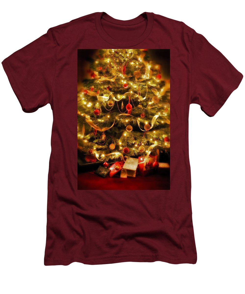 Victorian Christmas Tree Xmas Baubles Gifts Presents Decorations Ribbon Pine Needles Fairy Lights Men's T-Shirt (Athletic Fit) featuring the photograph Christmas Tree by Mal Bray