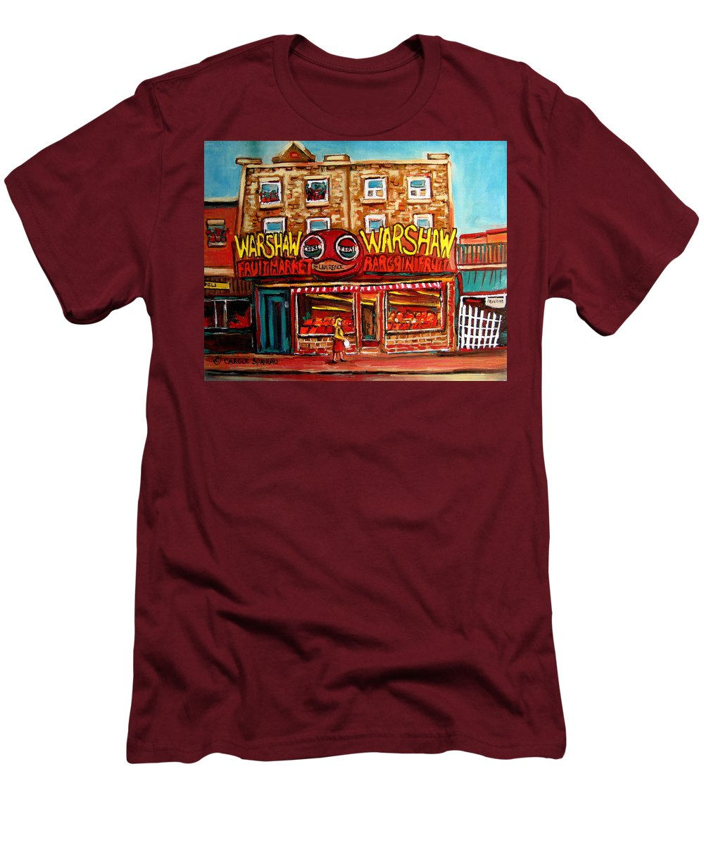 Warshaws Fruitmarket Men's T-Shirt (Athletic Fit) featuring the painting Fifties Fruitstore by Carole Spandau