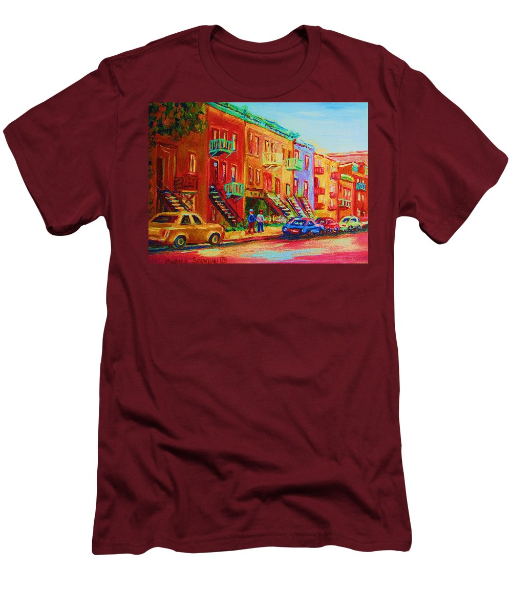 Painted Houses Men's T-Shirt (Athletic Fit) featuring the painting Summer In The City by Carole Spandau