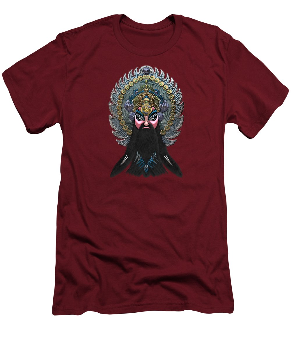 �treasures Of China� By Serge Averbukh Men's T-Shirt (Slim Fit) featuring the photograph Chinese Masks - Large Masks Series - The Emperor by Serge Averbukh