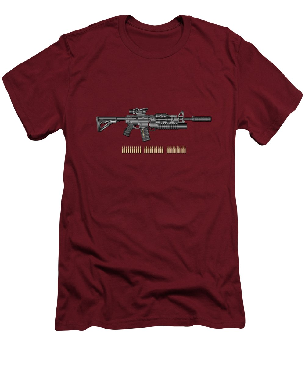 �the Armory� By Serge Averbukh Men's T-Shirt (Slim Fit) featuring the photograph Colt M 4 A 1 S O P M O D Carbine With 5.56 N A T O Rounds On Red Velvet by Serge Averbukh