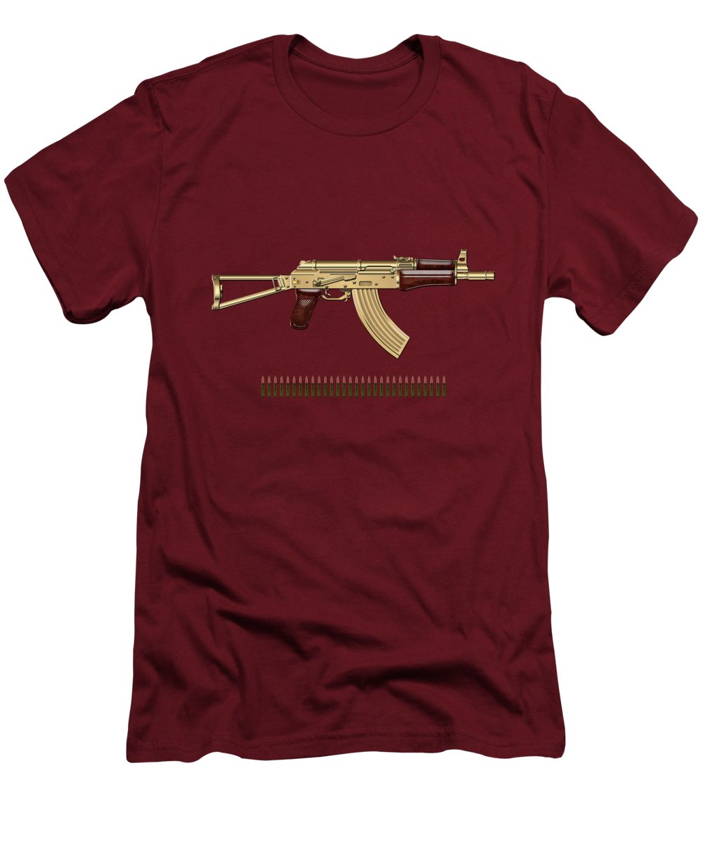 'the Armory' Collection By Serge Averbukh Men's T-Shirt (Slim Fit) featuring the photograph Gold A K S-74 U Assault Rifle With 5.45x39 Rounds Over Red Velvet  by Serge Averbukh