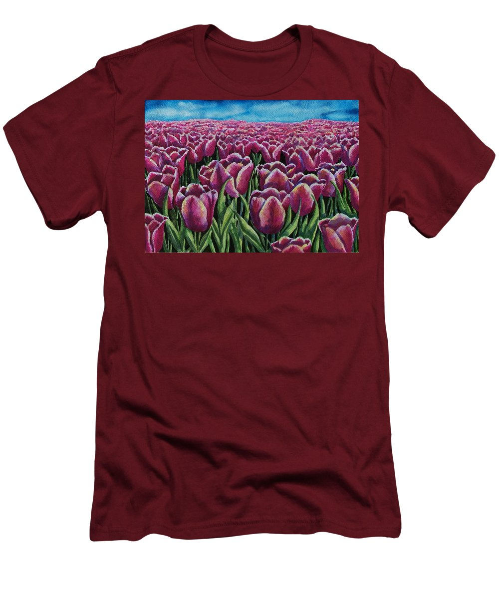 Tulips Men's T-Shirt (Athletic Fit) featuring the painting 1000 Tulpis by Conni Reinecke