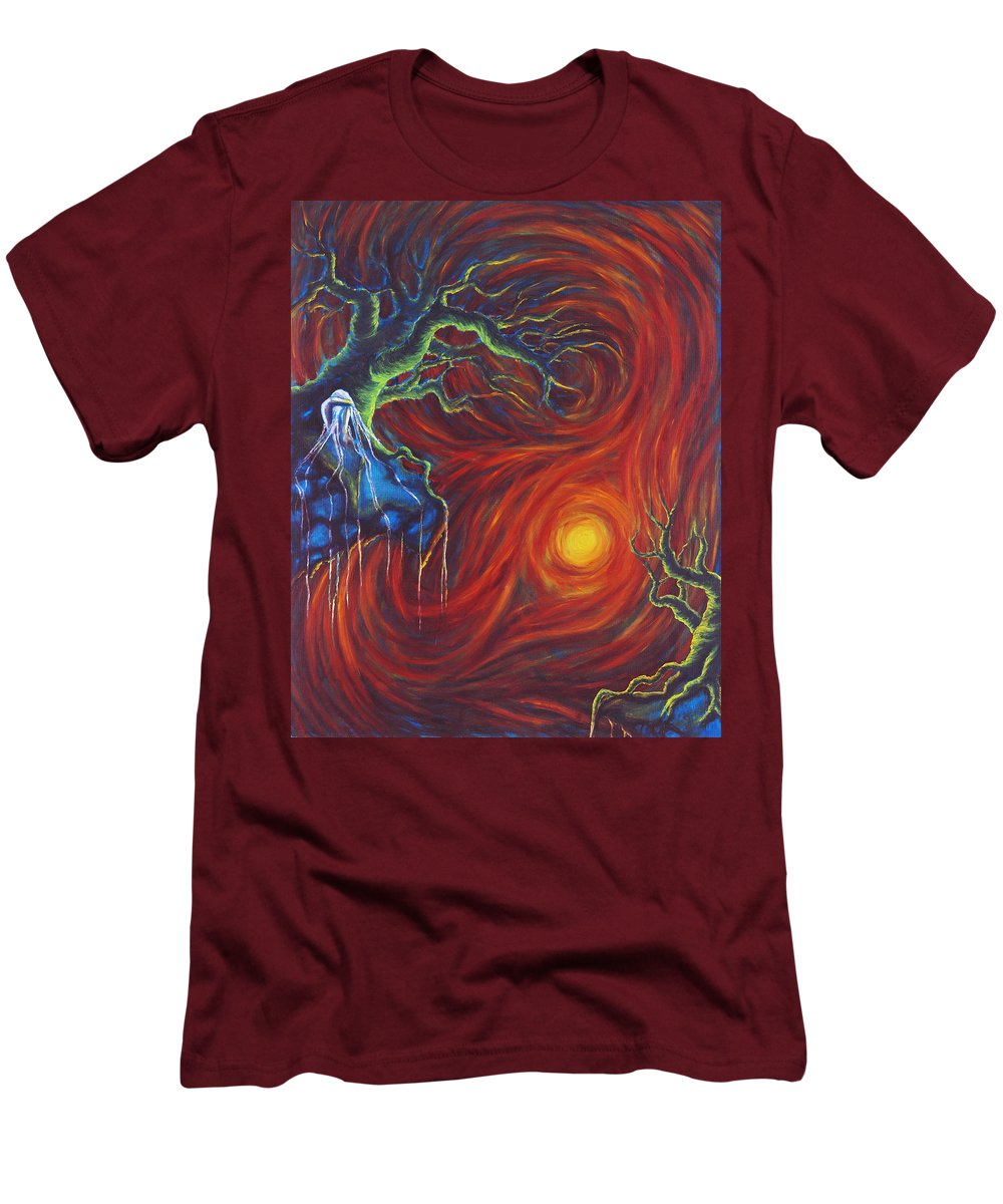 Tree Paintings Men's T-Shirt (Athletic Fit) featuring the painting Anxiety by Jennifer McDuffie