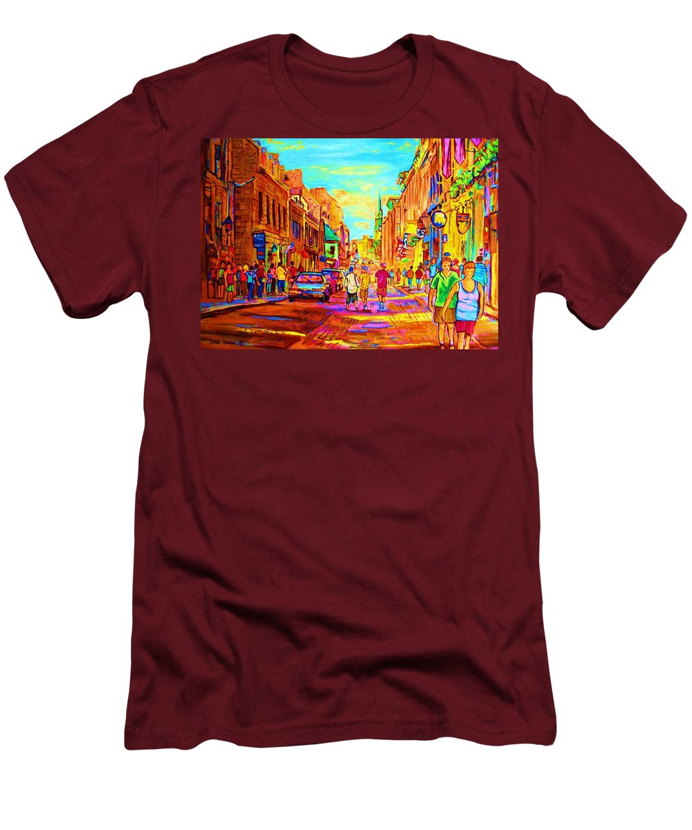 Old Montreal Men's T-Shirt (Athletic Fit) featuring the painting Beautiful Day In The City by Carole Spandau