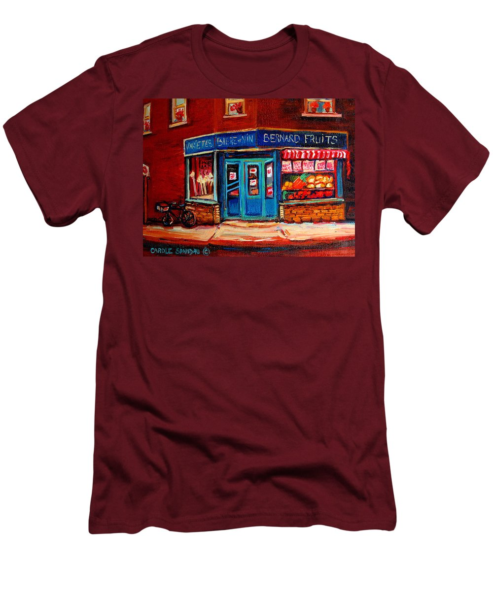 Bernard Fruit And Broomstore Men's T-Shirt (Athletic Fit) featuring the painting Bernard Fruit And Broomstore by Carole Spandau