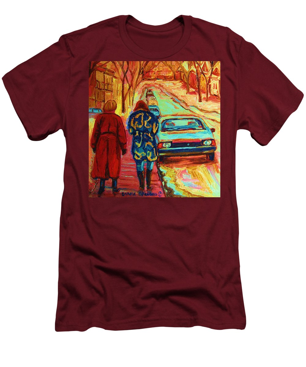 Inspirational Men's T-Shirt (Athletic Fit) featuring the painting Best Friends Forever by Carole Spandau
