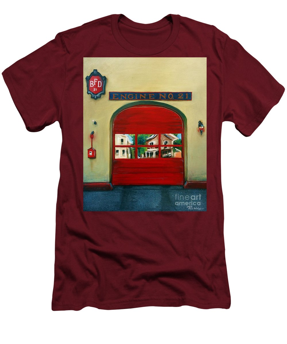 Fire House Men's T-Shirt (Athletic Fit) featuring the painting Boston Fire Engine 21 by Paul Walsh