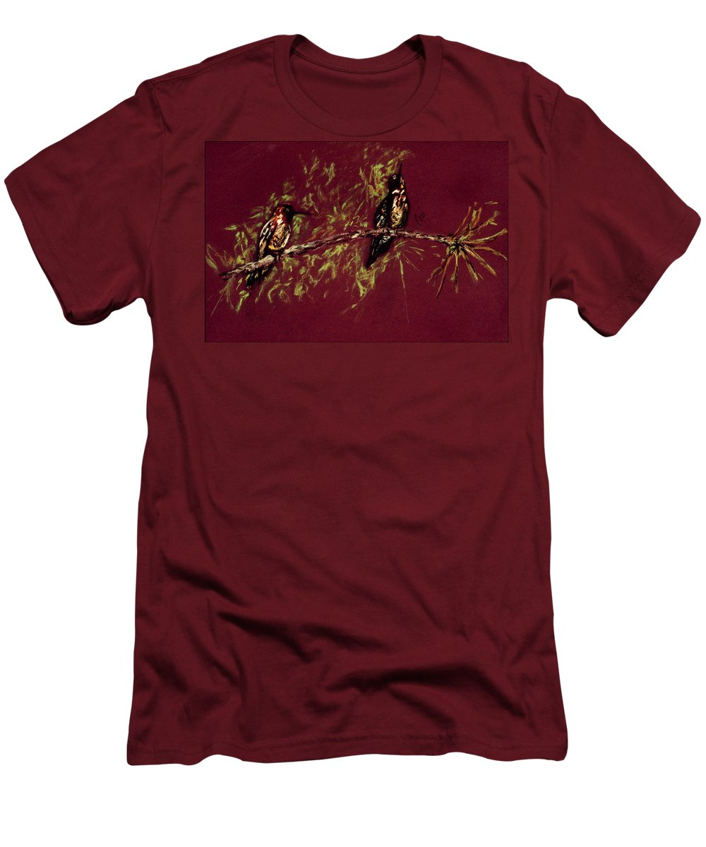 Humming Birds Men's T-Shirt (Athletic Fit) featuring the drawing Branching Out by Cori Solomon