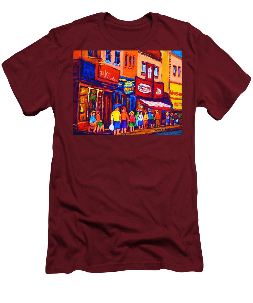 Schwartz's Hebrew Deli Men's T-Shirt (Athletic Fit) featuring the painting Bright Lights On The Main by Carole Spandau