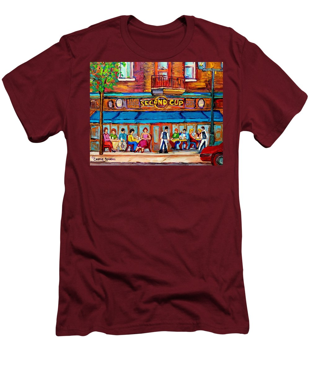 Cafe Second Cup Terrace Montreal Street Scenes Men's T-Shirt (Athletic Fit) featuring the painting Cafe Second Cup Terrace by Carole Spandau