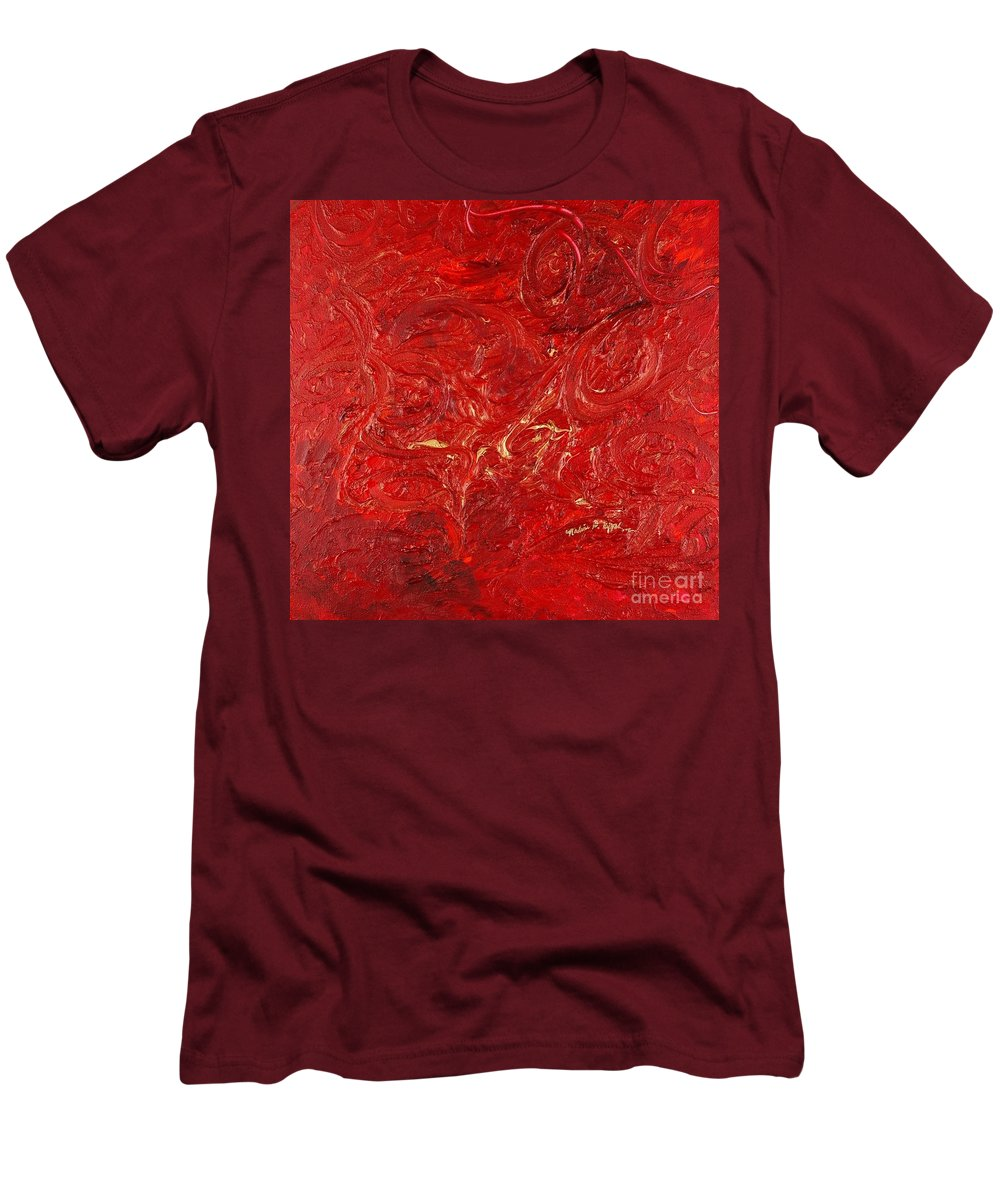 Red Men's T-Shirt (Athletic Fit) featuring the painting Celebration by Nadine Rippelmeyer