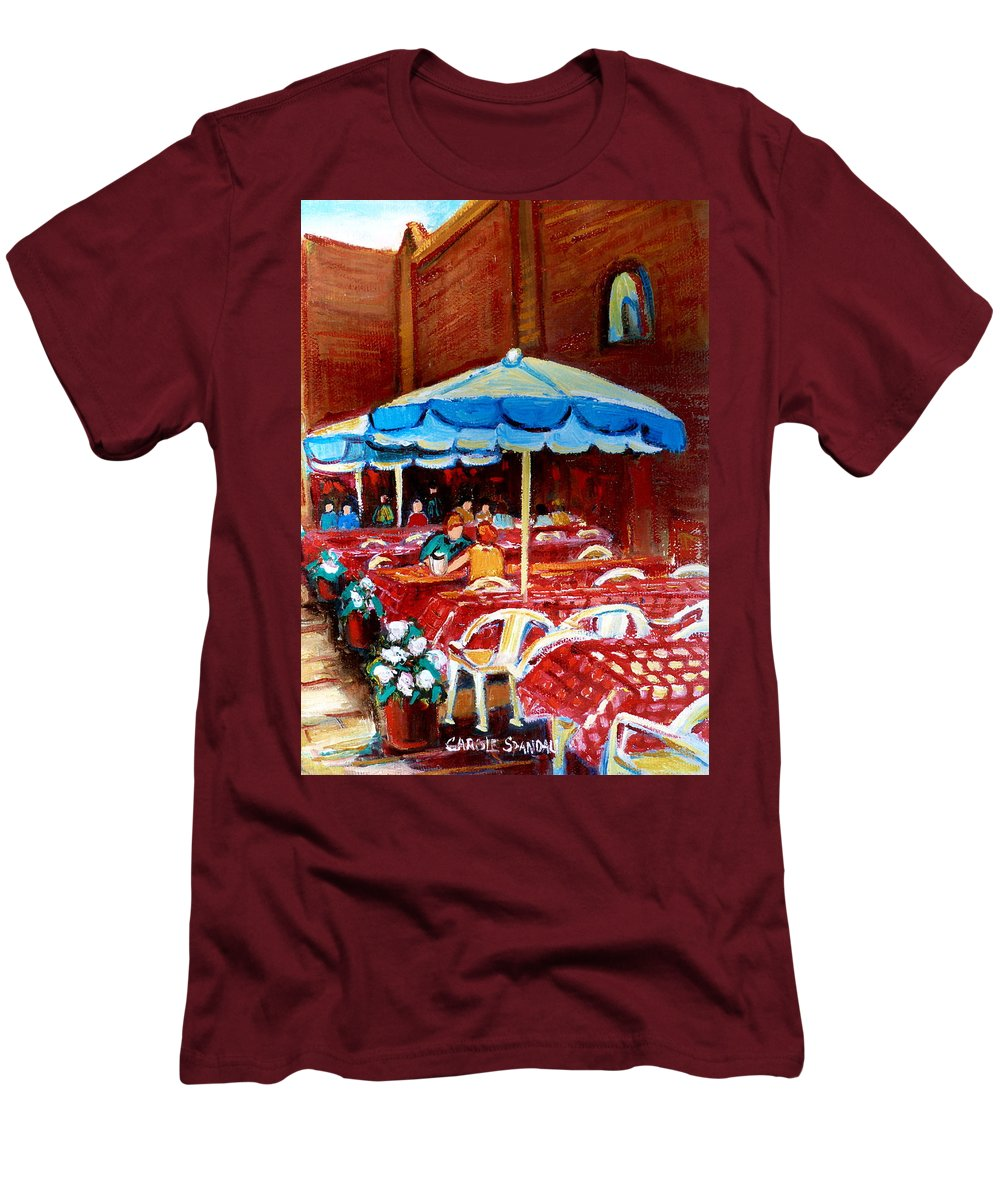 Montreal Men's T-Shirt (Athletic Fit) featuring the painting Checkered Tablecloths by Carole Spandau
