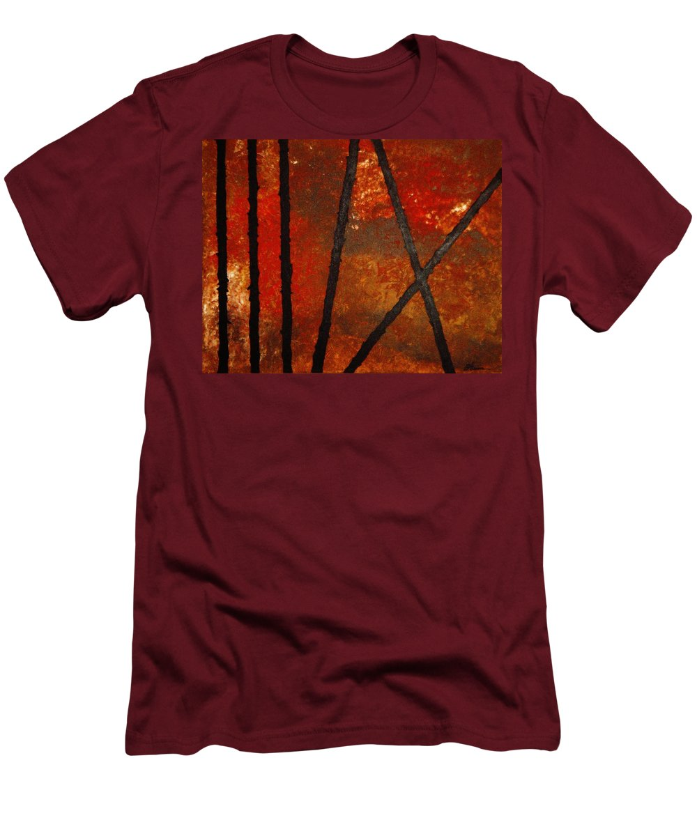 Original Abstract Acrylic Men's T-Shirt (Athletic Fit) featuring the painting Coming Apart by Todd Hoover