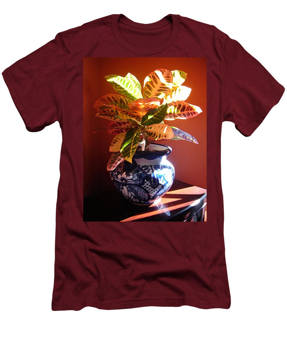 Potted Plant Men's T-Shirt (Athletic Fit) featuring the photograph Croton In Talavera Pot by Amy Vangsgard