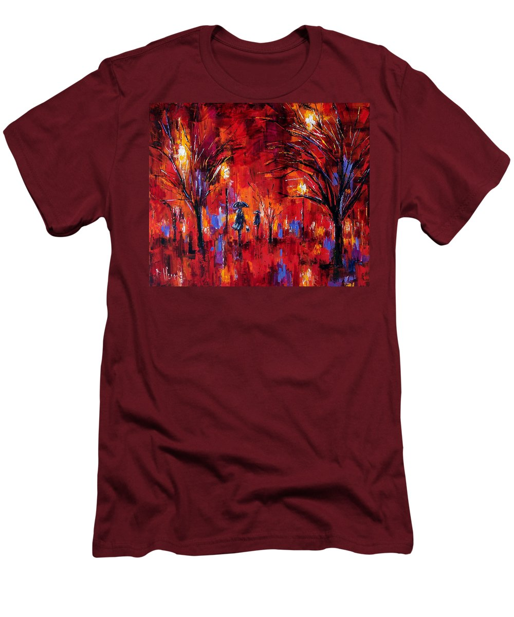 Umbrellas Men's T-Shirt (Athletic Fit) featuring the painting Deep Red by Debra Hurd