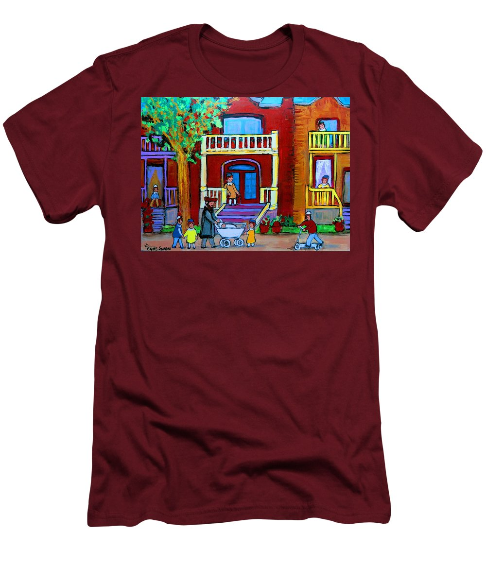 Judaica Men's T-Shirt (Athletic Fit) featuring the painting Durocher Street Montreal by Carole Spandau