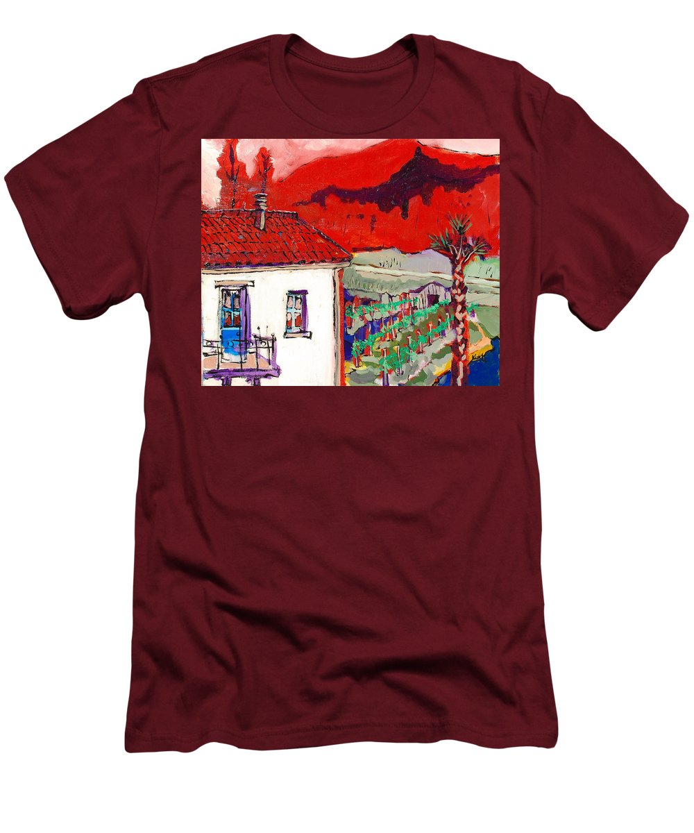 Men's T-Shirt (Athletic Fit) featuring the painting Enrico's View by Kurt Hausmann