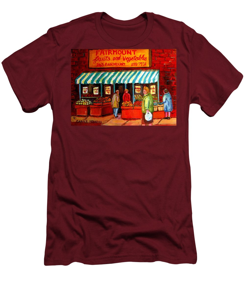 Fairmount Fruits And Vegetables Men's T-Shirt (Athletic Fit) featuring the painting Fairmount Fruit And Vegetables by Carole Spandau